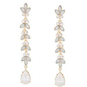 """NEW Glass Rhinestone 3"""" Leaf Drop Earrings - Opal"""